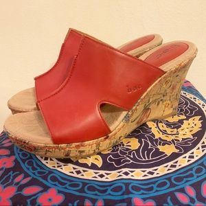 BOC red leather cork floral wedge sandals size 9